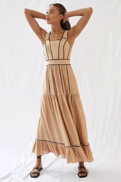 Square Neck Maxi Dress | Anthropologie Tiered Dress, 50 Fashion, New Outfits, Pretty Dresses, Anthropologie, Wrap Dress, Summer Dresses, Clothes For Women, How To Wear