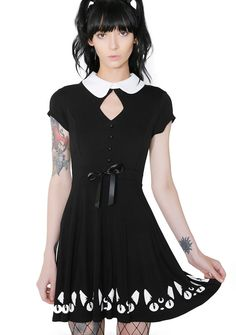 Killstar Keiko Kitty Skater Dress you make us purrrrrr.this cat-tastic lil' dress has kitty graphics, cut-out front, drawstring waist with satin ribbon and back keyhole cutout with button closure. Satin Skater Dress, Skater Dresses, Women's Fashion Leggings, Cat Dresses, Womens Fashion Casual Summer, Cutout Dress, Street Chic, Women's Fashion Dresses, Dresser