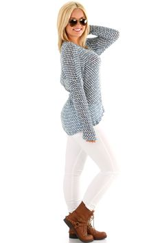 The Sun Keeps Shining On Me Sweater: Cornflower Blue/White