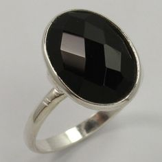925 Solid Sterling Silver Real BLACK ONYX Oval Checker Gemstone Ring Size US 5.5 #Unbranded Handmade Silver, Handcrafted Jewelry, Silver Jewellery Indian, Black Onyx Ring, Green Onyx, Sterling Silver Jewelry, Gemstone Rings, Gemstones, Ebay