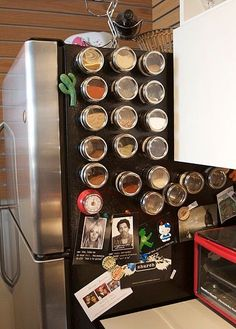 Magnetic Spice Rack On the Fridge - DIY: 20 Clever Kitchen Spices Organization Ideas
