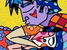 Limited Edition Fine Art Print by the Brazilian Artist Romero Britto - Paris Art Web Arte Pop, Decorative Pillow Cases, Throw Pillow Cases, Art Certificate, Art Web, Graffiti Painting, Pillowcase Pattern, Paris Art, Presents For Friends