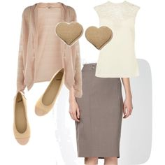 Beige wear to work outfit