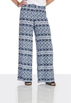 Smocked top contrast ethnic print palazzo pants (original price, $34) available at #Maurices