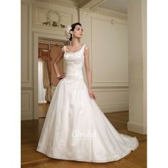 Sleeveless Scoop Neck Organza Unique Ball Gown Wedding Dress with Plunging V Back. #Aline, #Sleeveless, #Empire, #Ballgown, #Train, #Wedding, #Dress, #Bridal. Only $476.00