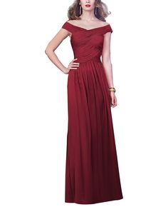 DescriptionDessy Collection 2919 Full length bridesmaid dressOff the shoulder necklineDraped banded bodiceSlightly shirred skirtLux Chiffon
