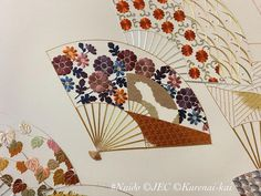 Learning from the predecessors part IV. A fan inside of a fan!? The whole design is completely serious, but some playfulness is there. Perhaps, this could be a great idea for interior designs to be more compelling to the audience. #日本刺繍 #nuido #japaneseembroidery #broderiejaponaise #ricamogiapponese #japanischestickerei #japanesefan Japanese Embroidery, Fan, Learning, Interior, Design, Indoor, Studying, Teaching