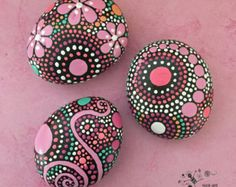 Painted Rocks, Mandala Inspired Design, Natural Home Decor, Rock Art, Painted Stone, Gift, FREE SHIPPING, pink persuasion collection #23