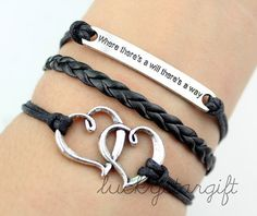 Lovers heart where there is a will there is a way black leather bracelet with black rope woven fashion bracelet bracelet charm fashion-Q299 by luckystargift, $3.69