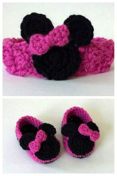 Crochet Baby Minnie Mouse Shoes and Headband Set by JJBabyCrochet, $20.00