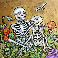 Lisa Luree Art Original Day of The Dead Golden Friendship Dog Skeleton Painting | eBay