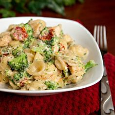 Broccoli-Chicken Mac & Cheese, made a little lighter with the use of laughing cow cheese wedges!