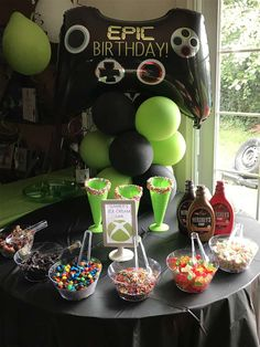 Xbox birthday party ideas photo 1 of 9 catch my party. Boy 16th Birthday, 9th Birthday Parties, Birthday Party Games, Birthday Party Decorations, Birthday Ideas, Xbox Party, Game Truck Party, Party Party, Bolo Xbox