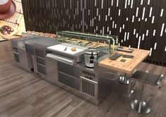 Professional cooking demo island for restaurants and sushi bar. Interior Modern, Kitchen Interior, Japanese Restaurant Interior, Restaurant Interior Design, Restaurant Kitchen, Restaurant Furniture, Sushi Bar Design, Sushi Cafe, Sushi Counter