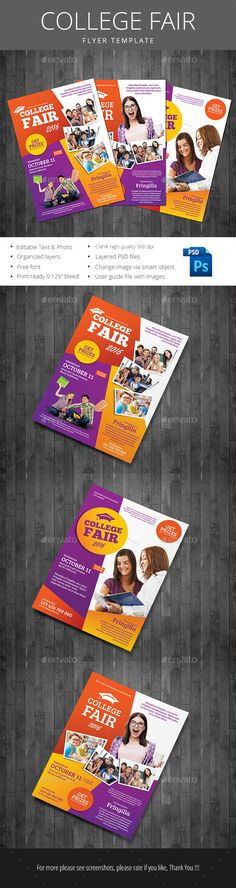 Buy College Fair by monggokerso on GraphicRiver. College Fair File Features : Size + Bleed area CMYK / 300 dpi Easy to edit text Well organized PSD file 3 A.