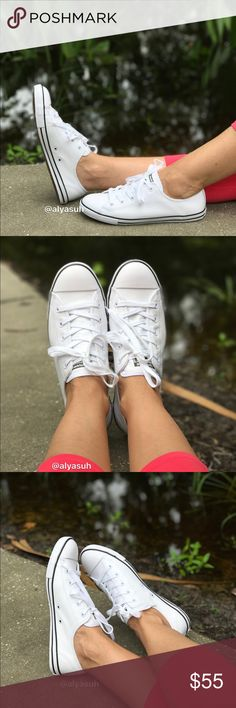 Converse CT Dainty OX White Leather WMNS Classic All-Star brandingWhite finish upper.                                   Lining textile.                                       Outsole rubber.                                        Brand new with box. Size 9W- no lid box. No trades. Price is firm. Converse Shoes Sneakers