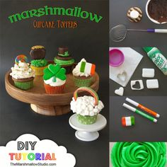 DIY Marshmallow Cupcake Toppers that a perfect for St. Patrick's Day from TheMarshmallowStudio.com