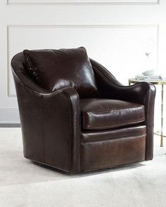 H8CFB Fawn Leather Swivel Chair