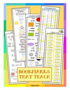 Bookmarks that are ready to print and use! Options come in both color, and black and white. They are four bookmarks per page. These are both educational and useful. There is room at the top to hold punch and add some colored yarn. Great gift idea for your students!