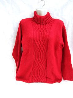 Hand knitted ladies red roll neck jumper sweater 36 inch - 91 cm chest £30.00