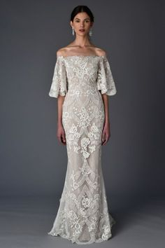 Off-the-shoulder lace wedding dress, Marchesa Spring 2017 Bridal Collection, Bridal Fashion Week Spring 2017 Wedding Dresses, Wedding Dress Trends, Wedding Attire, Bridal Dresses, Spring Wedding, Lace Wedding, Wedding Aisles, 2017 Bridal Gowns, Bohemian Wedding Gowns