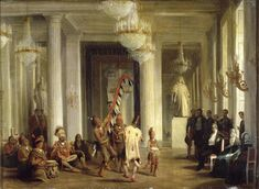 King Louis-Philippe watches a dance by Iowa Indians in a salon of the Tuileries, 21 April 1845.