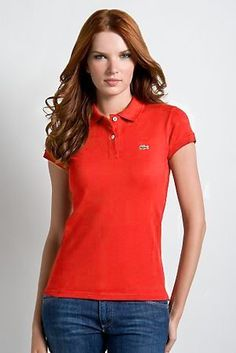 Classic Ralph Lauren Mesh Women Short Sleeved Polo Red .
