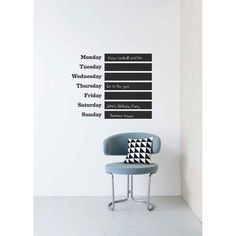 Buy your This Week Chalkboard Wall Sticker by ferm LIVING here. Keep track of your busy social schedule with this fun chalkboard wall decal! Modern Kids Decor, Wall Stickers, Wall Decals, Wall Vinyl, Wall Art, Chalk Wall, Chalkboard Paint, Blackboard Wall, Chalk Paint