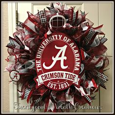 Alabama Crimson Tide Deco Mesh wreath by Twentycoats Wreath Creations (2017)