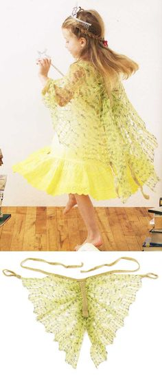 Free Knitting Pattern for Woodland Fairy Wings - Kat Coyle's lace fairy wings are knit and then gathered into a centerpiece. Although the pattern calls for crocheting the central section and ties, I would think that you could knit them instead. Also though this pattern calls for mohair, Ravelrers have used a variety of yarns for their projects. This pattern is excerpted from her book Boho Baby Knits