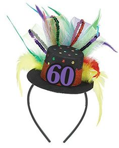 Show everyone you're 60 and still kicking with this birthday fascinator. Each feather or sequin say that today is your day. The netting and large '60' medallion on the tiny top hat will surely bring a