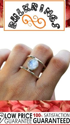 Silver Rings With Stones, Rainbow Moonstone Ring, 925 Silver, Gemstone Rings, Gemstones, Jewelry, Jewlery, Gems, Jewerly