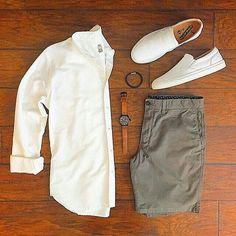 Taylor Stitch white oxford button down, men's outfit grid