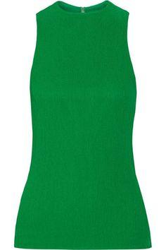 Plissierter Crêpe in leuchtendem Grün    Verdeckter Haken und Reißverschluss hinten    100 % Viskose; Futter: 100 % Seide   Designerfarbe: Kelly Green    Trockenreinigung
