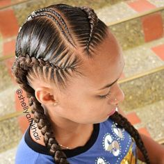 African Hair Braiding : Image may contain: one or more people and closeup - Beauty Haircut Feed In Braids Hairstyles, Kids Braided Hairstyles, African Hairstyles, Fake Hair Braids, Braids For Short Hair, Tresses Invisibles, Curly Hair Styles, Natural Hair Styles, Hair Braiding Styles Black