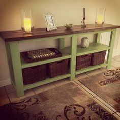 Kreg Jig® Project Rustic Console Table in Mint Green Rustic Table, Creative Decor, Redo Furniture, Rustic Consoles, Diy Home Improvement, Rustic Diy, Wood Projects, Rustic Console Tables, Woodworking Projects