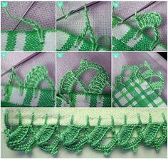 Step by step Picot Crochet, Crochet Cord, Crochet Lace Edging, Crochet Borders, Crochet Bracelet, Crochet Trim, Crochet Doilies, Crochet Stitches, Crochet Leaf Patterns