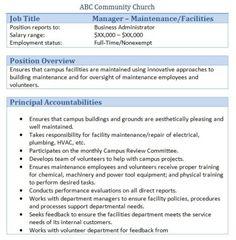 Job description, Office manager jobs and Church office on Pinterest