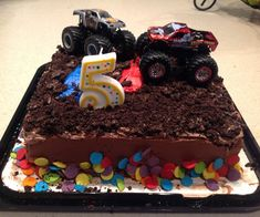 This is the easy way i.e. lazy way to make a monster truck themed birthday cake. My 4th son is a monster truck FANactic! Well unfortunately for him ...