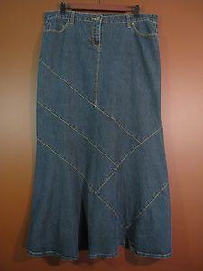 BISOU-BISOU Women Cotton Long Jean Skirt Paneled Fishtail Dark Blue 16P
