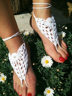 Bridal Wedding white  Barefoot Sandals Nude by ArtofAccessory, $15.00