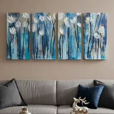Easy Flower Painting, Flower Painting Canvas, Diy Canvas Art, Flower Canvas, Flower Paintings, 3 Piece Canvas Art, 3 Canvas Painting Ideas, 3 Canvas Paintings, Simple Acrylic Paintings