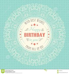 236bdec13be Vintage happy birthday card typography letters vector by Kannaa on  VectorStock®