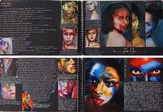 The black paper and vibrant colours in this Photography sketchbook result in a dramatic, eye catching layout. The pages almost take on a magazine-like quality, with large and small images integrated carefully within text.