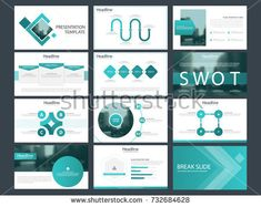 Blue square presentation templates, Infographic elements template flat design set for annual report brochure flyer leaflet marketing advertising banner template