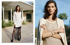 Kati Nescher models neutral hues as well as fringe style for the fashion feature.