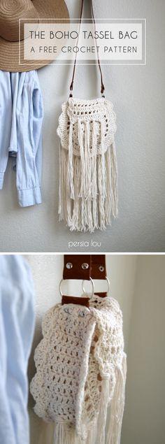 Boho Tassel Bag - free crochet pattern! So cute with the tassels and leather strap! ༺✿ƬⱤღ  https://www.pinterest.com/teretegui/✿༻