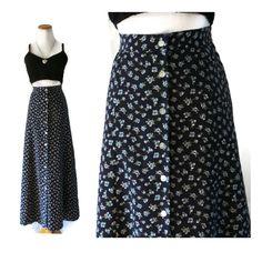 Floral Maxi Skirt / 90s Maxi Skirt / 90s Skirt / Grunge Skirt / Grunge Maxi Skirt / 90s Floral Skirt / High Waisted Skirt / A-line Skirt by GoodLuxeVintage on Etsy