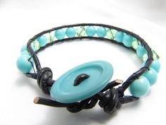 Turquoise and green Chan Luu Style Bracelet with Vintage Button Closure READY TO SHIP