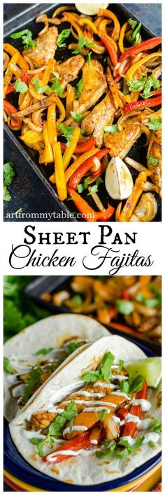 Sheet Pan Chicken Fajitas ~ plus all the tips for perfect sheet pan suppers #sheetpansupper #onepandinner #easydinneridea #20minutemeal #30minutemeal #fajitas #cincodemayo